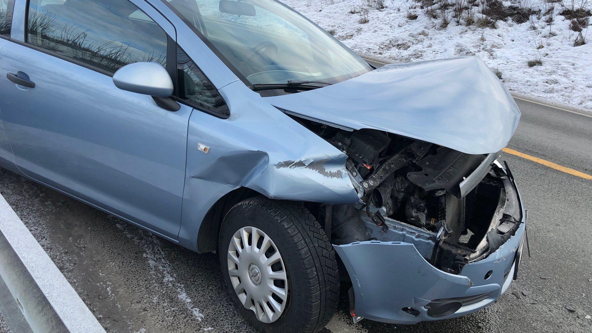 Krasjet i autovernet på riksvei 350 i Åmot