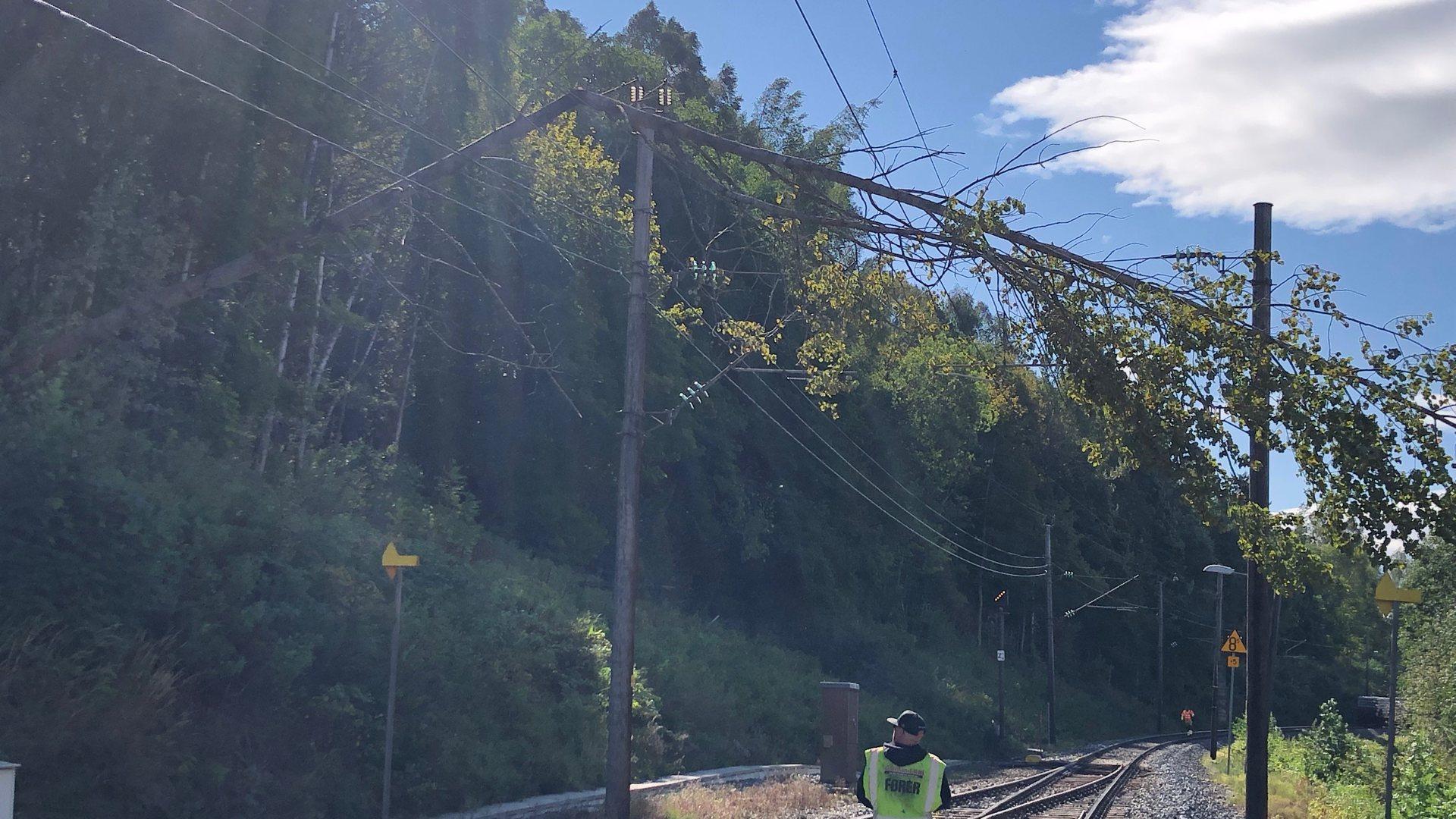 Tre falt over kjøreledningen ved Åmot stasjon